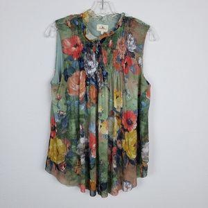 Anthropologie | Deletta floral smock sleevelesstop